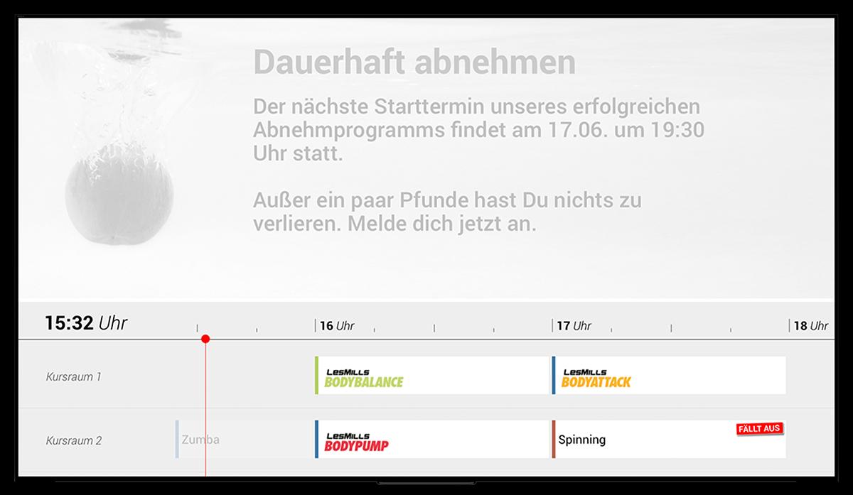 Kursplan Timeline Digital Signage für Fitnessclubs