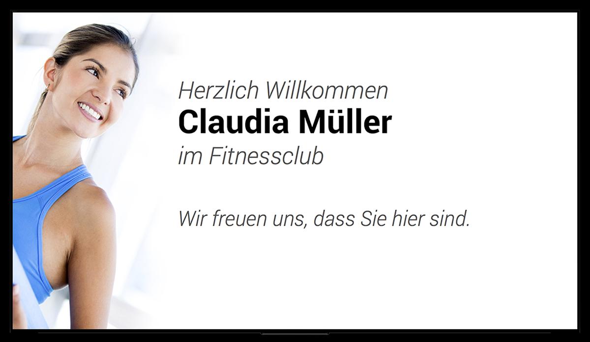 Kursplan Kundenbegrüßung Digital Signage für Fitnessclubs