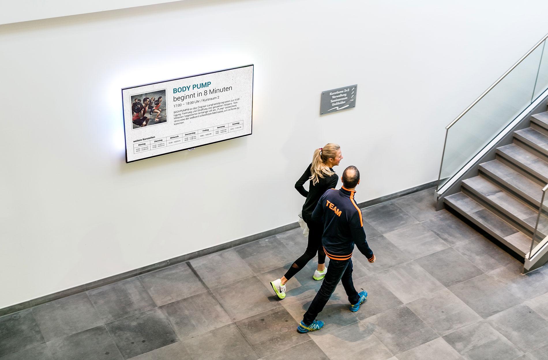 Kursplan Digital Signage für Fitnessclubs